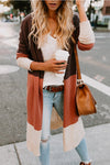 Color Block Striped Knitted Cardigan