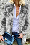 Lapel Collar Solid Color Faux Fur Coat