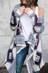 Long Sleeve Floral Irregular Knitted Cardigan
