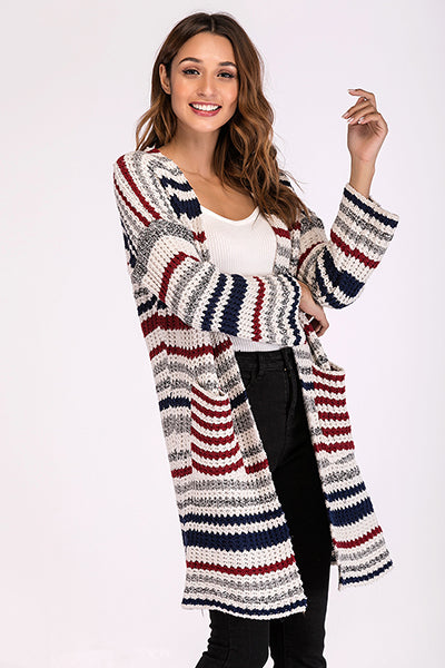 Chic Multi-color Striped Knitted Cardigan