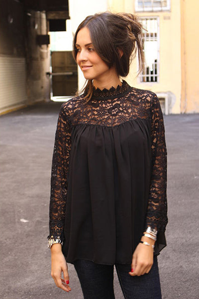 Fashion Lace Long Sleeve Solid Blouse