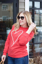 Heart Printed Red Pullover Sweatshirt