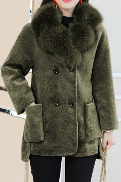 Chic Three Colors Pockets Fur Collar Coat
