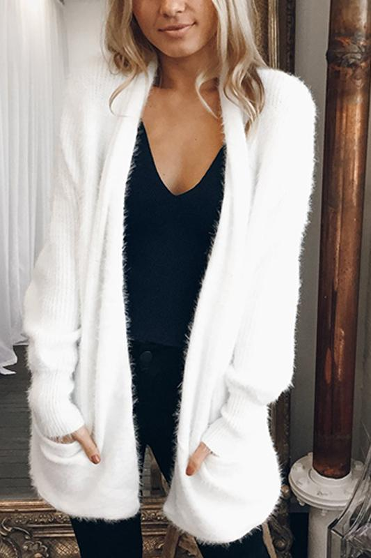 Solid Color Casula Long Cardigan