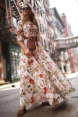 Bohemian Floral Half Sleeve Maxi Dress