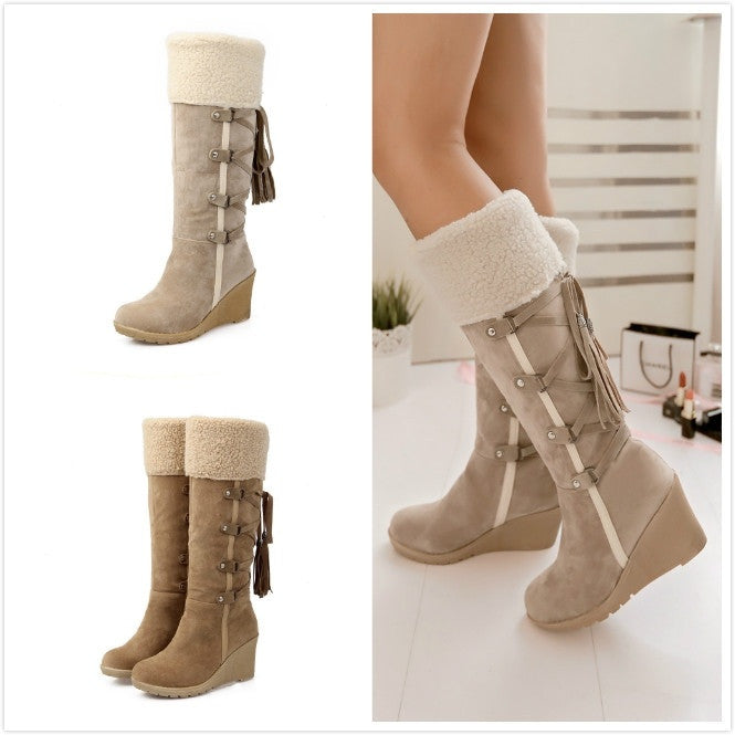 Women's Fashion Lace Round Toe Scrub High Heel Snow Boots