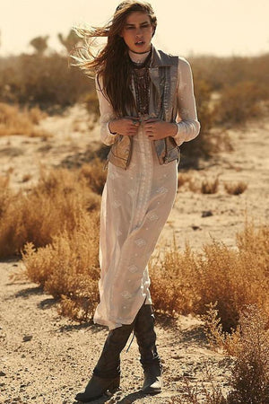 Bohemian Embroidered Maxi Long Dress