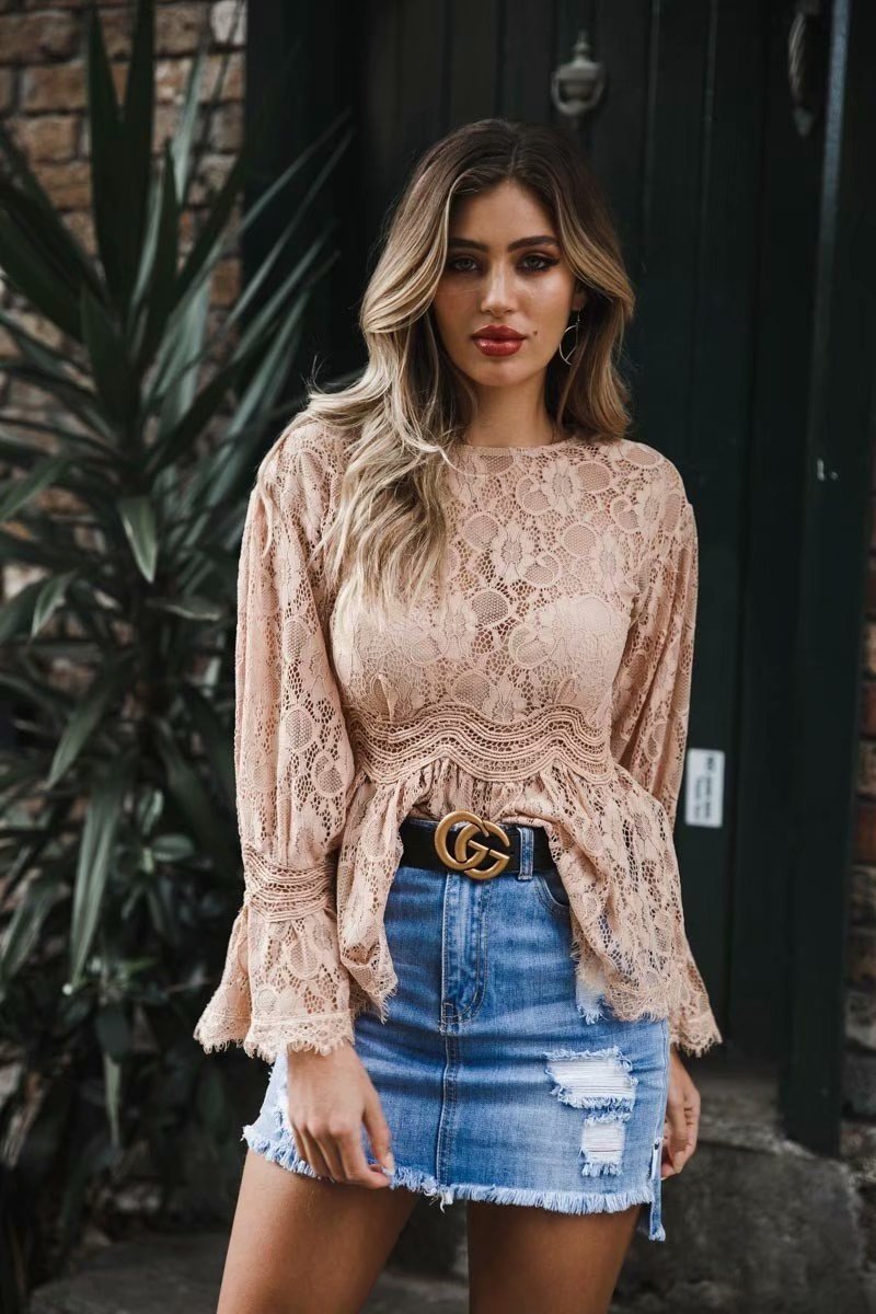 Fashion Lace Hollow Out Blouse