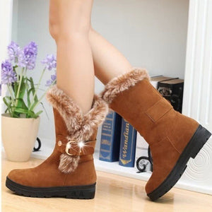 3 Colors Women Winter Boots Fashion Casual Lace Up Warm Shoes Fur Short Suede Snow Boots Lady Shoes