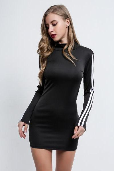 Stretchable Splicing Long-Sleeved High-Neck Slim Dress