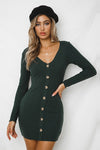 V-neck Button Solid Long Sleeve Dress