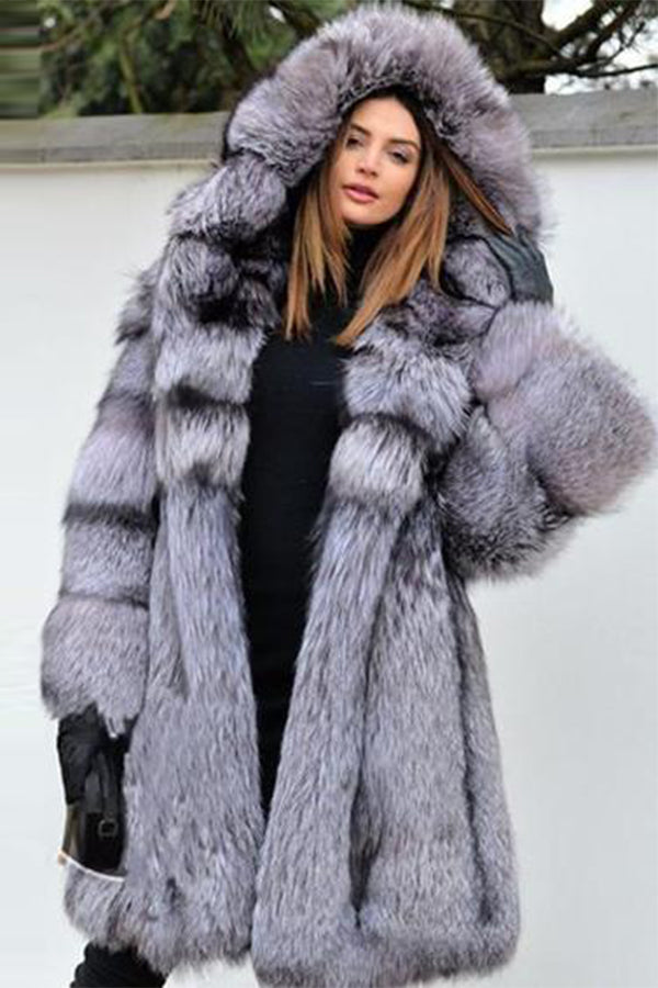 Gray Hooded Long Fox Fur Coat