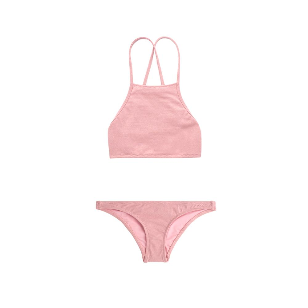 Pink two piece bikini with halter neck by Made by Dawn