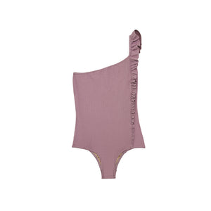 Purple ribbed asymmetrical one piece swimsuit
