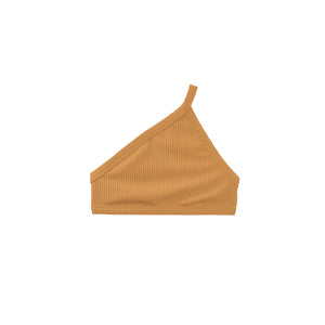 Tan one-shoulder swimsuit top by Made by Dawn
