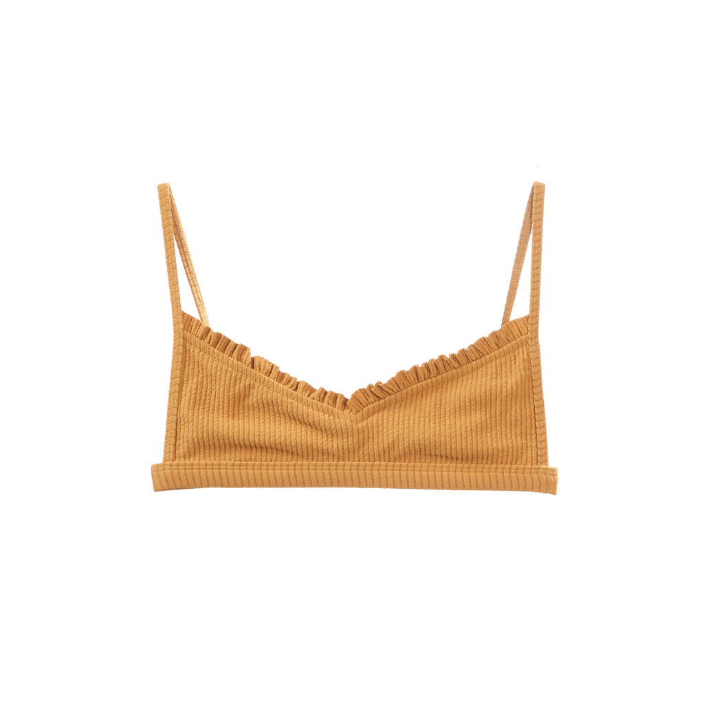 Tan bikini top with ruffles by Made by Dawn