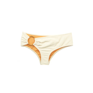 Cream asymmetric bikini bottom with ring hardware