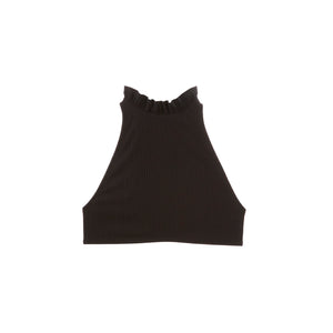 Black high neck swimsuit top with ruffles