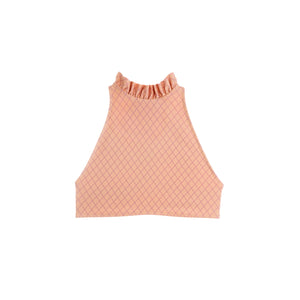 Coral high neck swimsuit top with ruffles by Made by Dawn