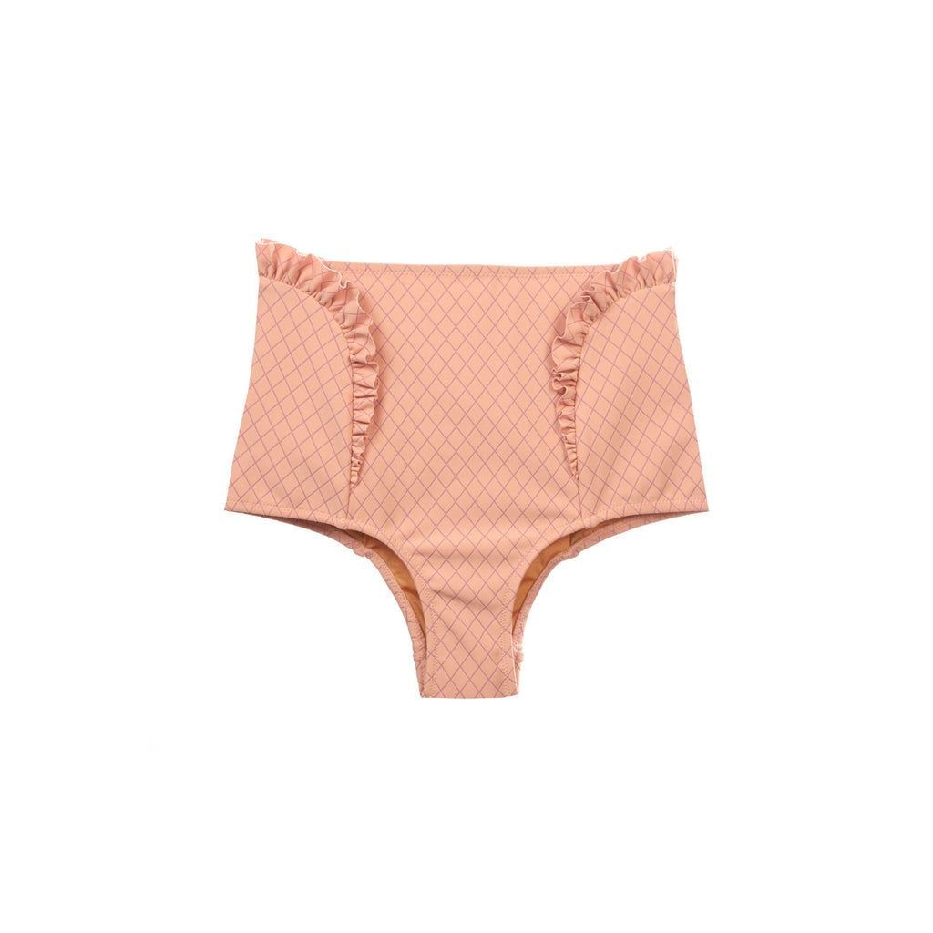 Coral high waisted swimsuit bottom with ruffle detail