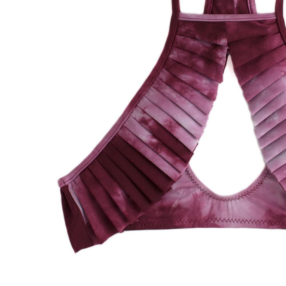 Purple tie-dyed two piece swimsuit top