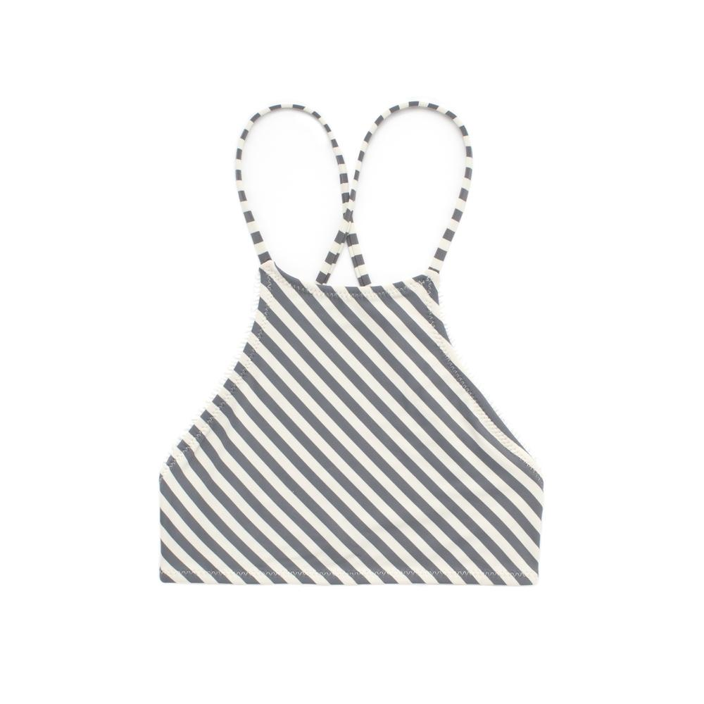 Grey and white striped halter neck bikini top
