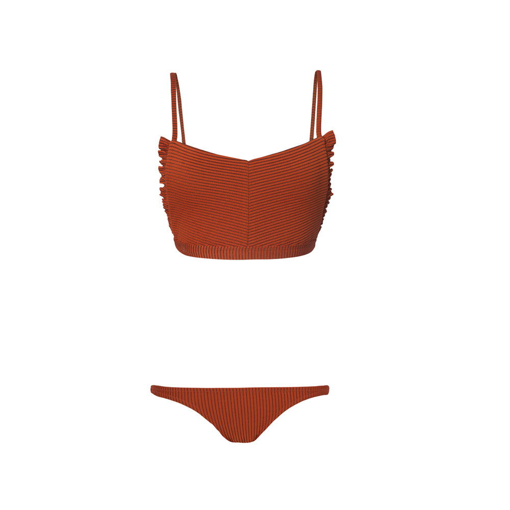 Rust two piece swimsuit with ruffles