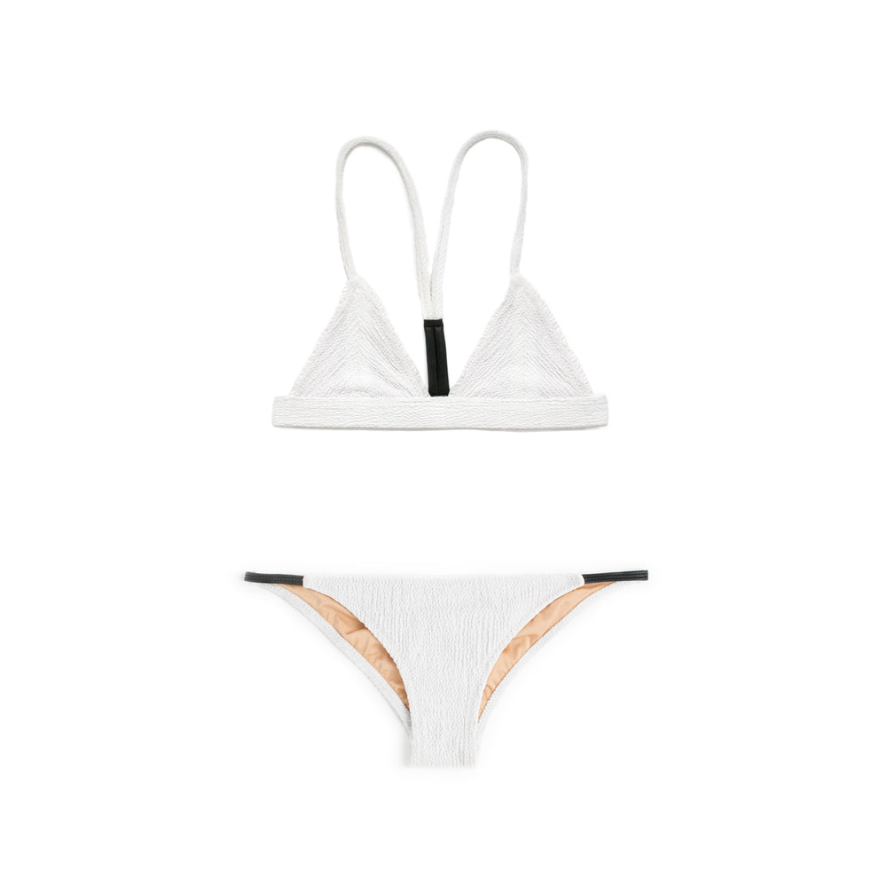 White two piece bikini with faux leather detailing