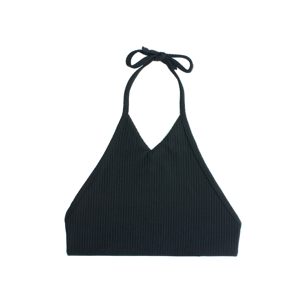 Black high neck halter swimsuit top