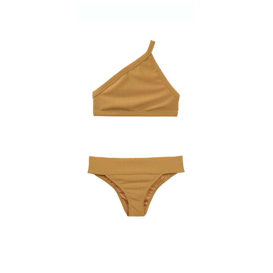 Tan two piece bikini with one-shoulder top