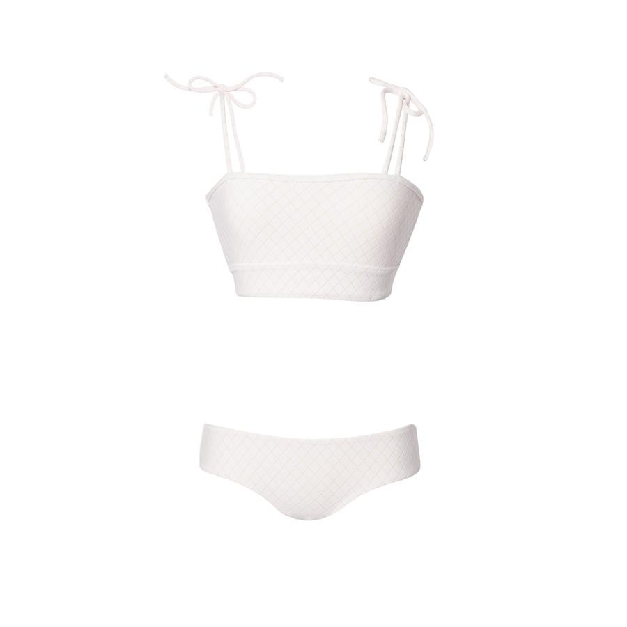 White and pink two piece swimsuit by Made by Dawn