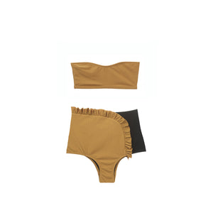 Tan bandeau bikini top with high waisted swim bottom