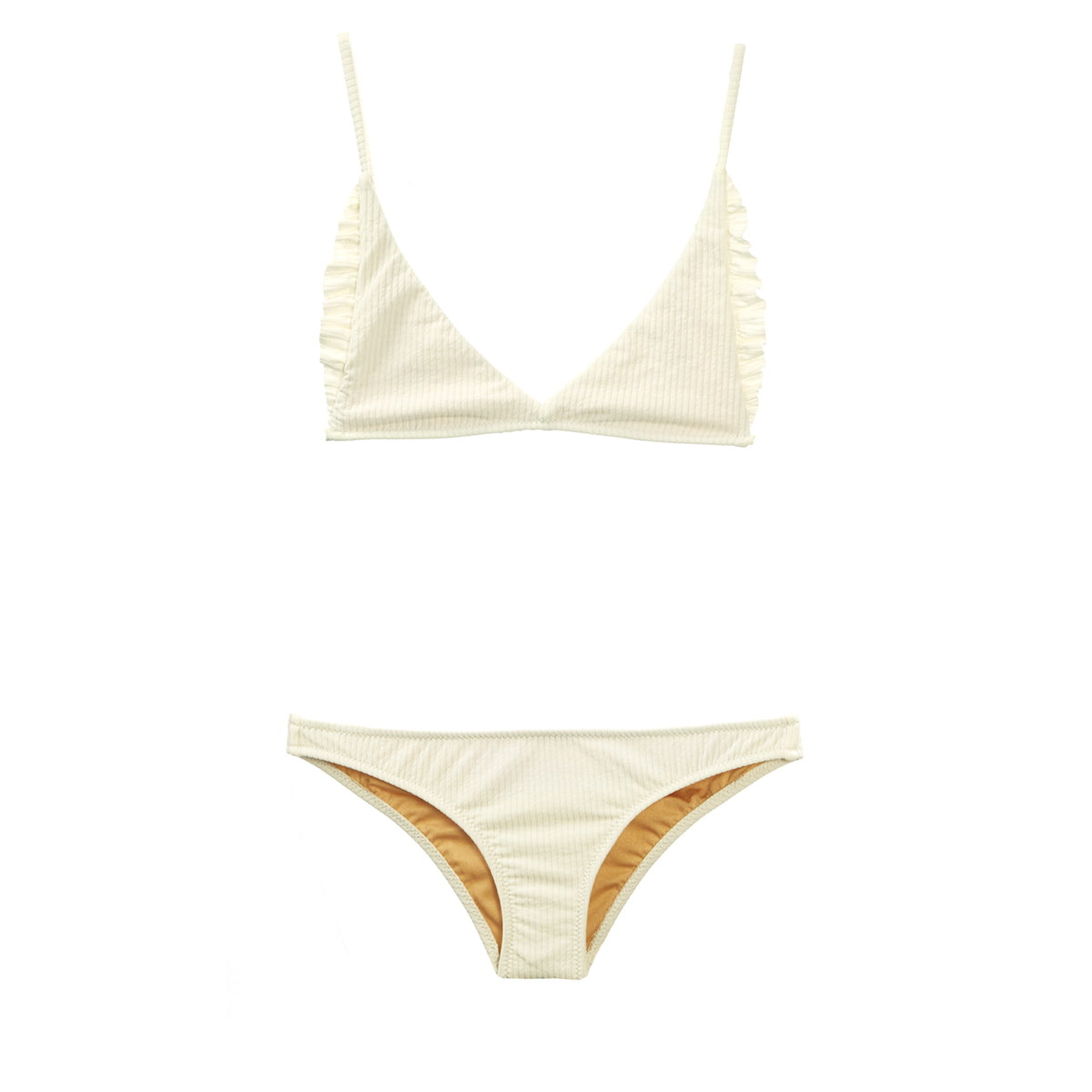 Cream two piece bikini by Made by Dawn