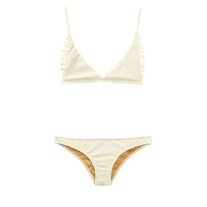 Cream ribbed two piece bikini with ruffles