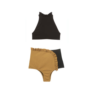 Black and tan two piece swimsuit with ruffles by Made by Dawn