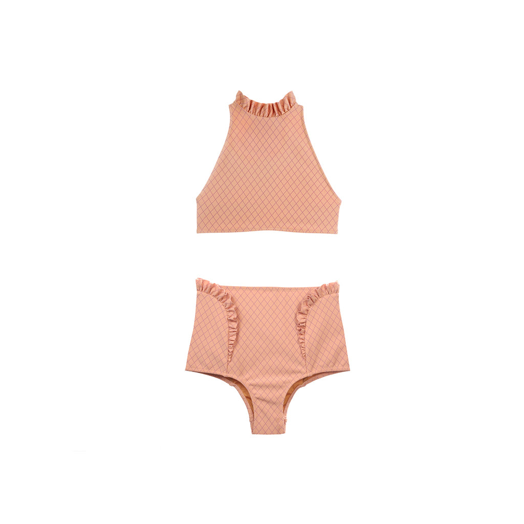 Coral two piece swimsuit with ruffles by Made by Dawn