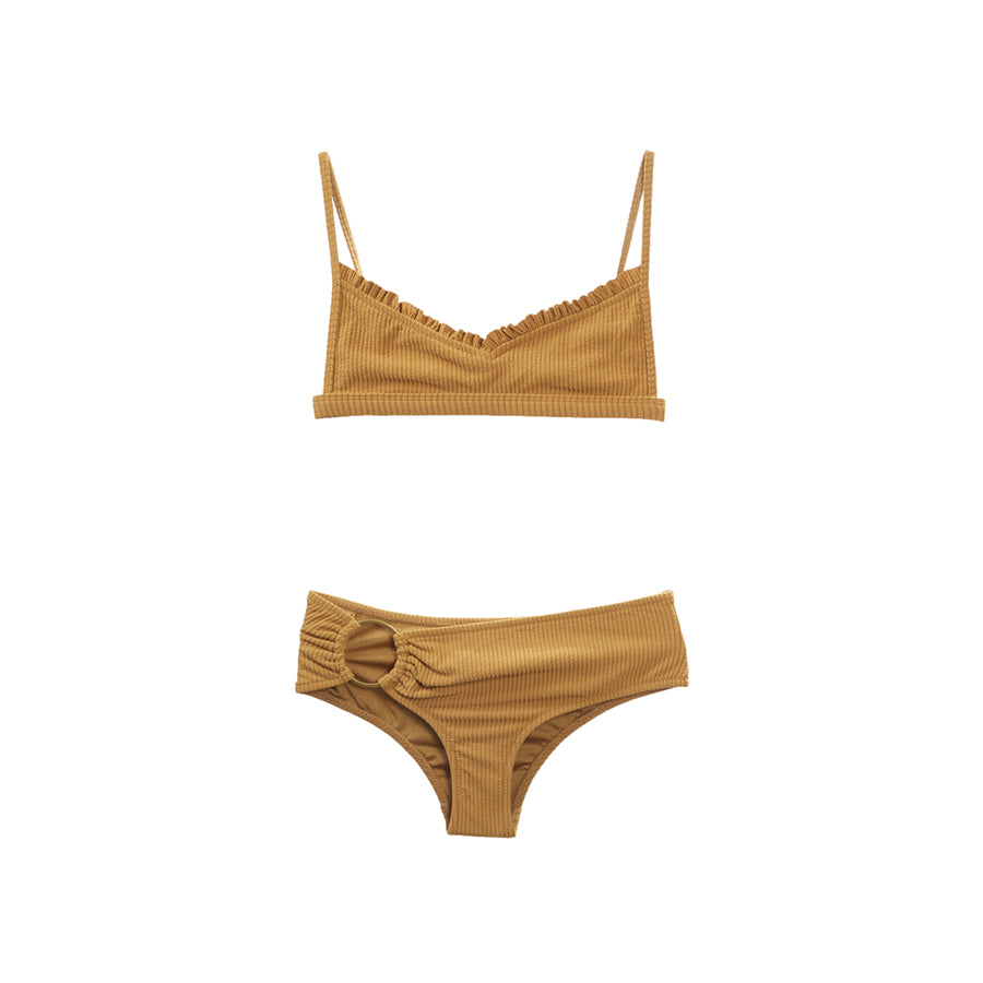 Tan two piece bikini with ruffles and ring hardware