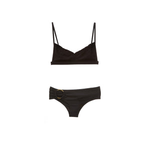 Ribbed black two piece bikini by Made by Dawn