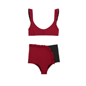 Red and black high waisted two piece bikini by Made by Dawn
