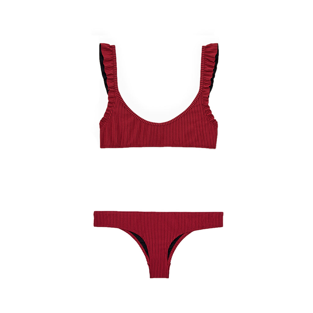 Red two piece bikini with ruffles by Made by Dawn