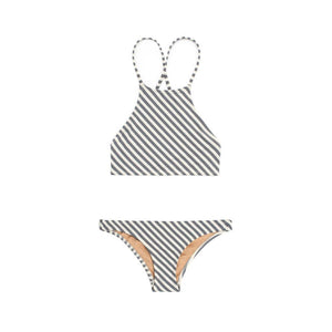 Gray and white striped two piece bikini