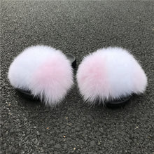Load image into Gallery viewer, Pink Ice Fox Fur Sandals