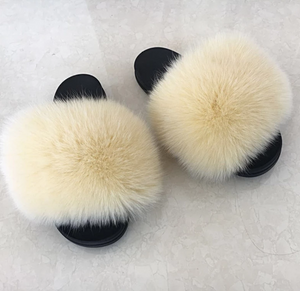 Cream Fox Fur Sandals
