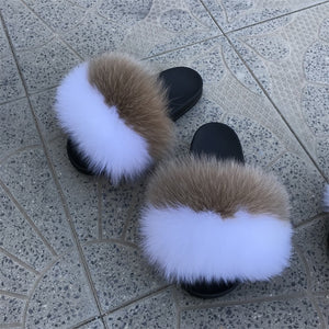Hazel Fox Fur Sandals