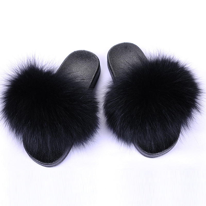 Black Fox Fur Sandals