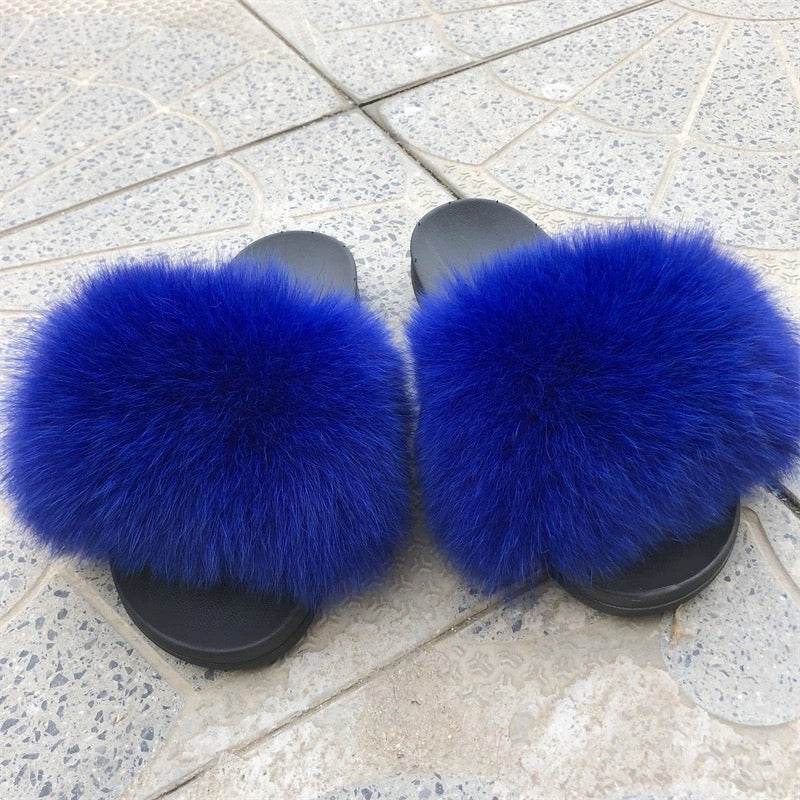 Blues Fox Fur Sandals