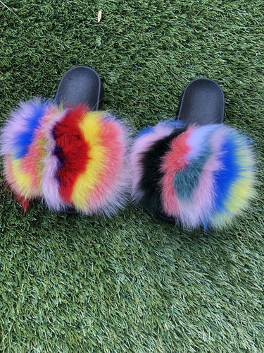 Rainbow Fox Fur Sandals