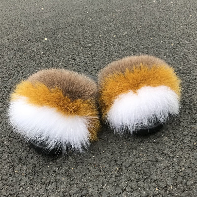 Walnut Fox Fur Sandals