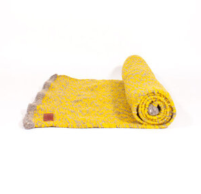 YELLOW SPECKLED WOOL RUG