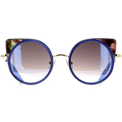 Matthew Williamson MW174 C4 Sun Navy Silk/ Tortoiseshell/ Yellow Gold/ Navy Mirror